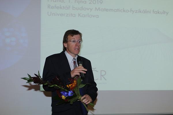 Doc. RNDr. Jiří Bruthans, Ph.D. na předávání cen předsedkyně GA ČR
