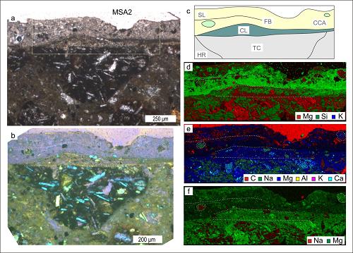 Mikrofotografie vzorku hornin zodlučné plochy sesuvu San Andrés, pomocí kterých byly identifikovány historické akcelerace